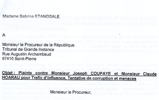 Sabrina Etangsale accuse Claude Hoarau de trafic d'influence et de tentative de corruption