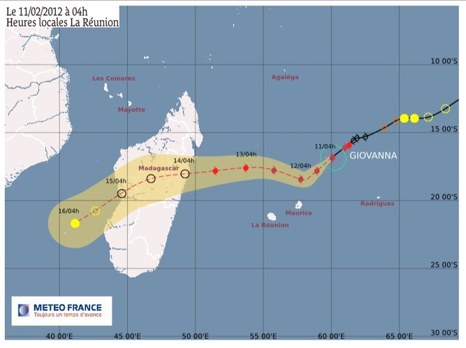 Le cyclone tropical intense Giovanna à 650km de nos côtes