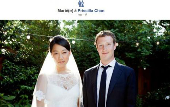 Mark Zuckerberg se marie sur Facebook