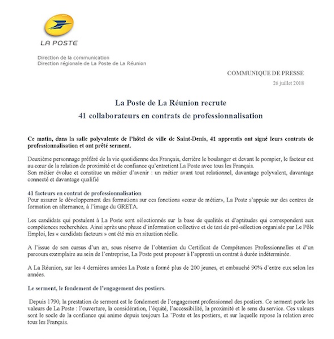 La Poste recrute 41 collaborateurs en contrat de professionnalisation