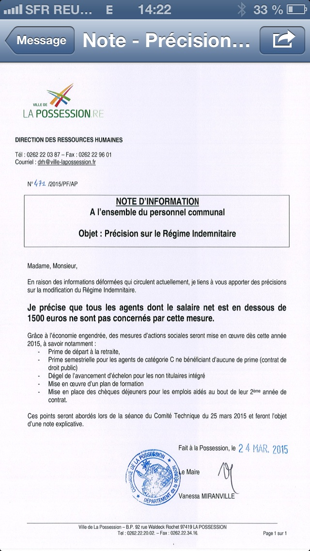 Une copie du document interne