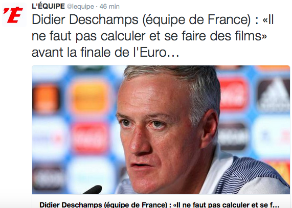 "Didier Deschamps prêt pour la finale : ""Ni tension ni stress"""